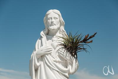 Jesus mit Bromelie, auf dem Zentralfriedhof, cementerio general, San José, Costa Rica