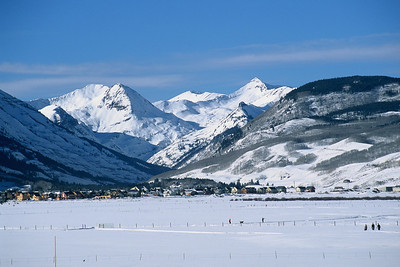 looking at the town of Crested Butte as you arrive from Gunnison