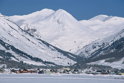 Looking at the town of Crested Butte with Paradise Divide in the background