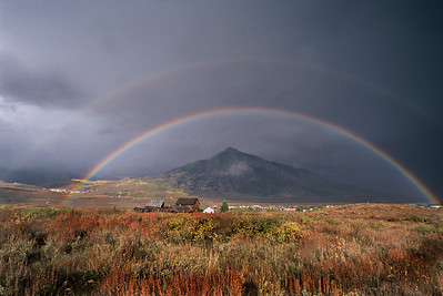 I had to run up to Treasury Hill to catch a fall rainbow above Mt Crested Butte