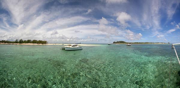 14.01.2008 Mauritius / Ankern auf der Korallenbank vor der Ile Gabriel / 180°-Panorama