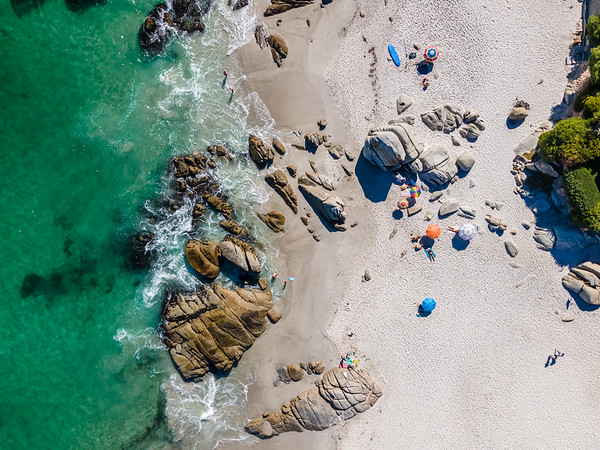 Aerial view of Clifton beach umbrellas in summer, Cape Town, South Africa.