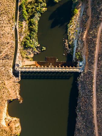 Aerial view of Bulshoekdam Dam wall, Western Cape, South Africa