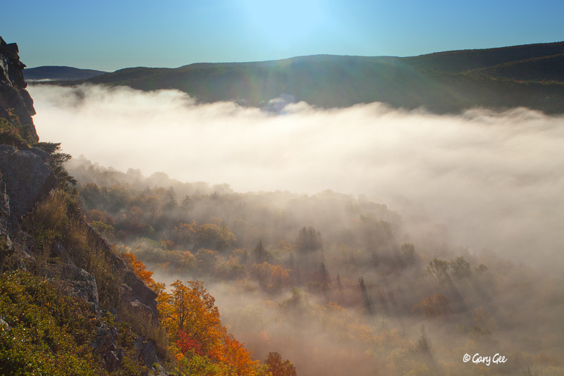 Lake of the Clouds early morning fog, Porcupine Mountains Upper Peninsula, Michigan