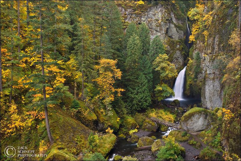 """<font color=""""#FFFFFF"""" size=""""4"""" face=""""Verdana, Arial, Helvetica, sans-serif"""">Wahclella Falls Autumn</font><br> Columbia River Gorge, Oregon"""