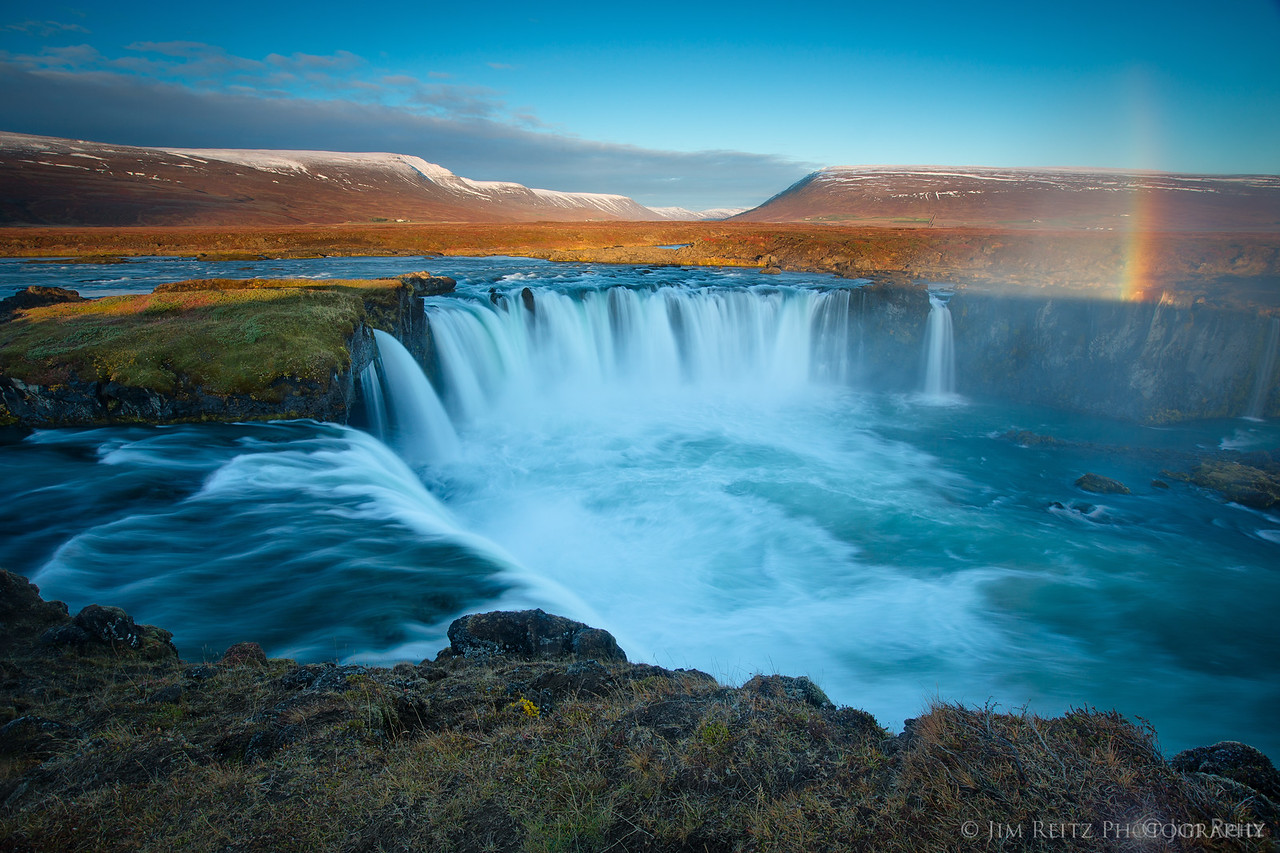 A beautiful morning at Godafoss waterfall in northern Iceland.