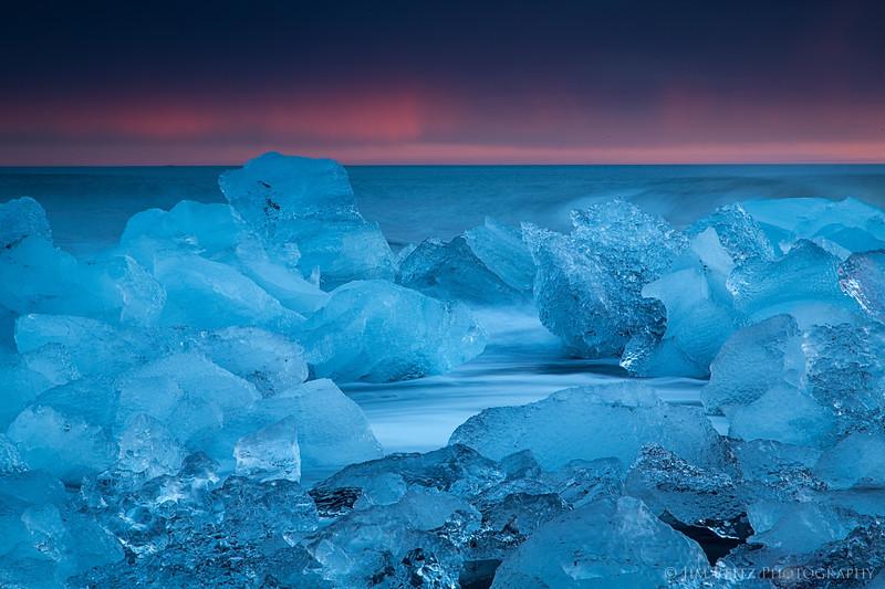Icebergs pile up on the beach near Jökulsárlón glacier lagoon in eastern Iceland.