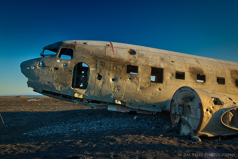 Wreckage of a US Navy DC-3, in the middle of huge empty black lava sand plains, southern Iceland.