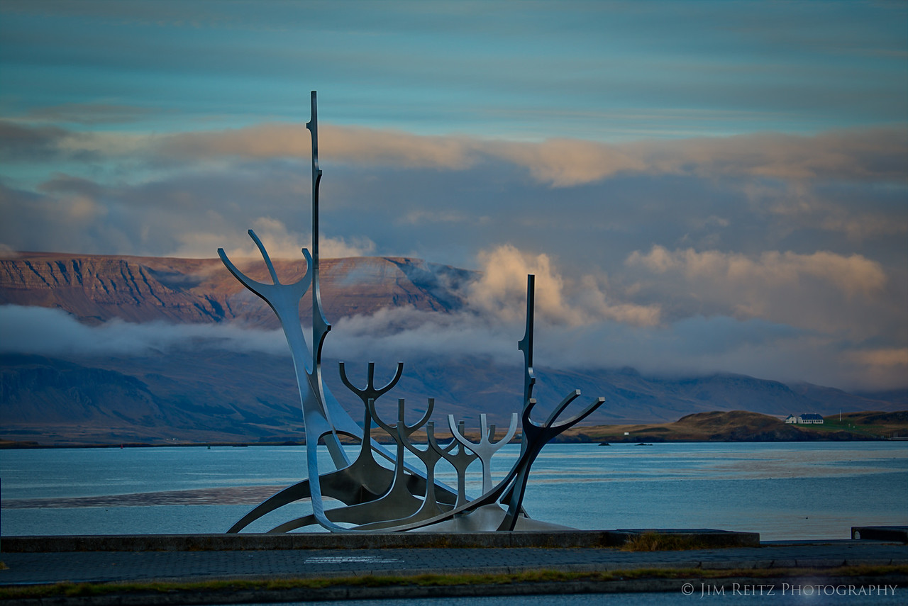 Steel viking ship sculpture, Reykjavik.