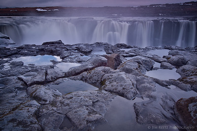 Closeup of Selfoss waterfall in northern Iceland