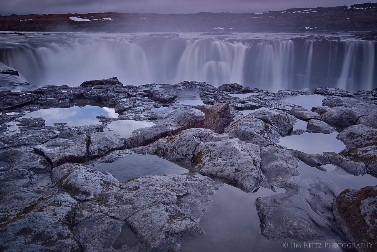 Closeup of Selfoss waterfall in northern Iceland