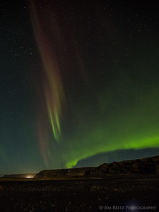 Aurora display near Vik, southern Iceland.