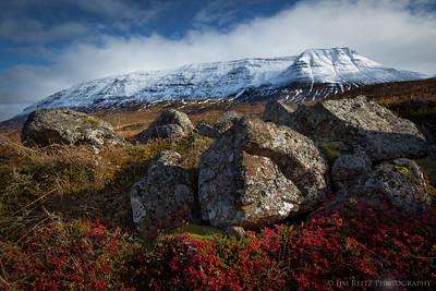 Mountain scenery along the Öxnadalsheiði pass on Highway 1 before Akureyri, Iceland