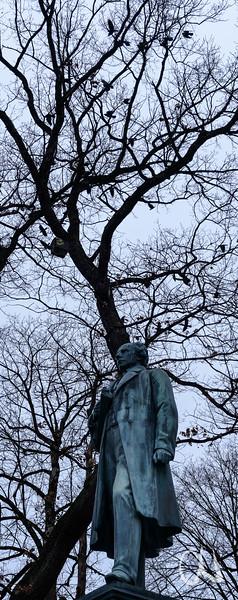 Dohlen über dem Uhlanddenkmal, Tübingen