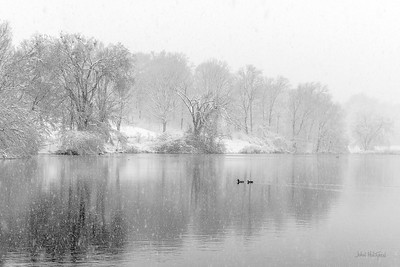 Spring Snowstorm at Cherokee Park Lake (Monochrome).