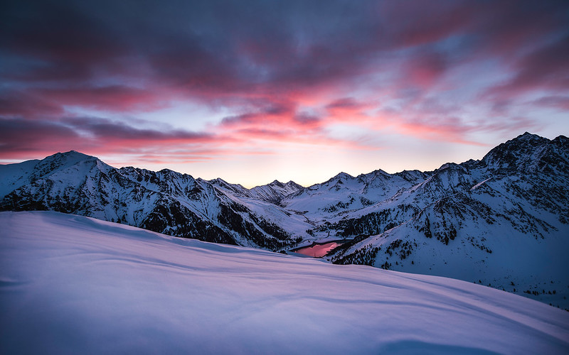 A glowing red sky before the sunrise, Kühtai, Austria 2016