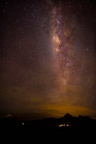 Under the southern night sky. Erupting Cotopaxi volcano, Ecuador 2015
