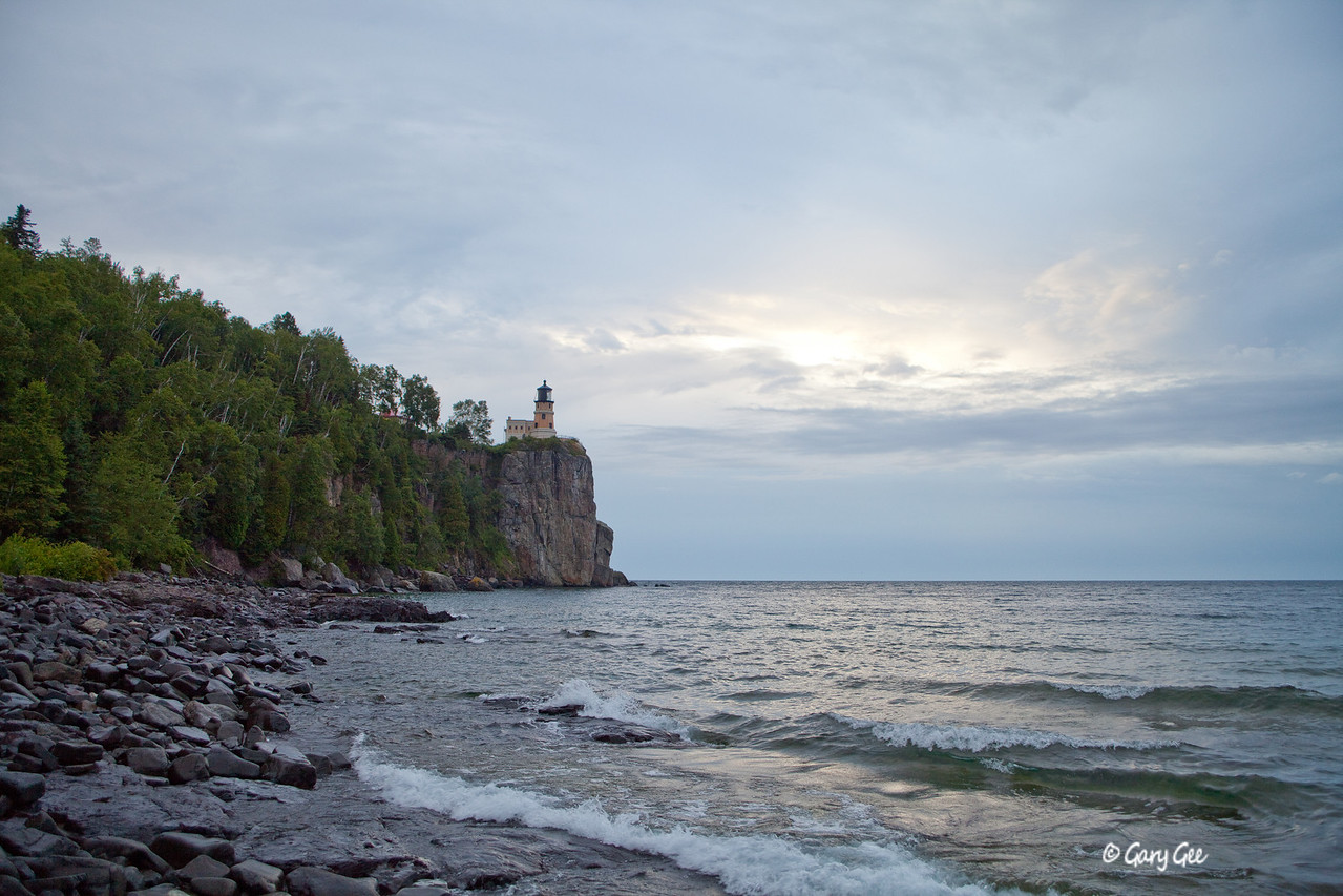 Split Rock Lighthouse, Lake Superior on a drizzly morning