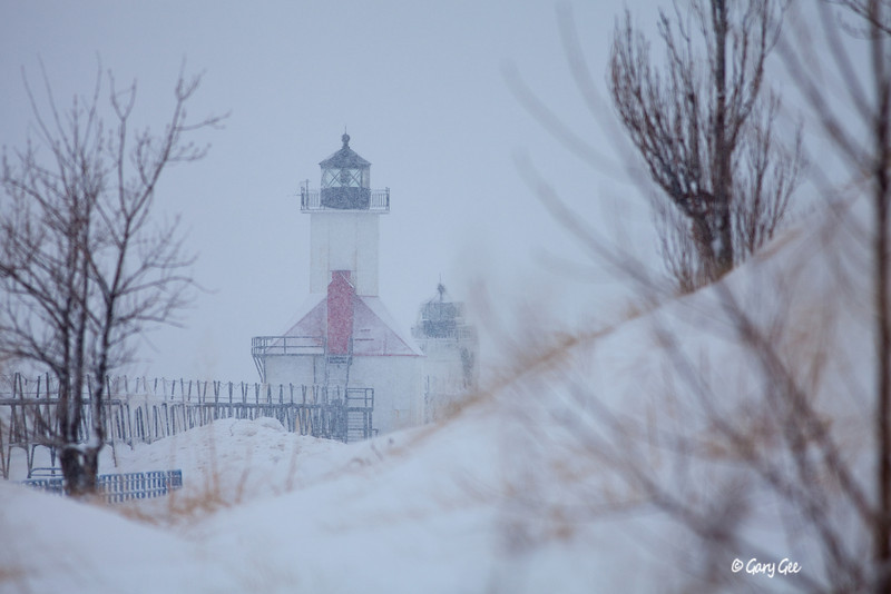 St. Joseph Lighthouse, Lake Michigan during a snowstorm