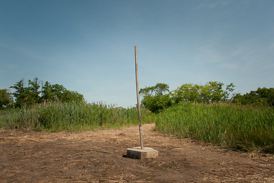 Wooden pole set in concrete block