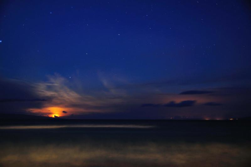 Setting Moon over Maui Coast
