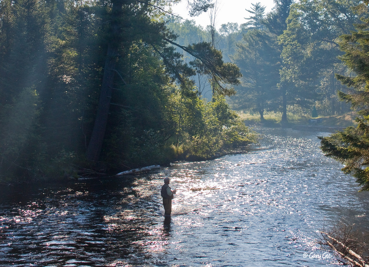 Fisherman in the Main Branch of the AuSable River in the early morning light on a steamy day in July near Wakeley Bridge.