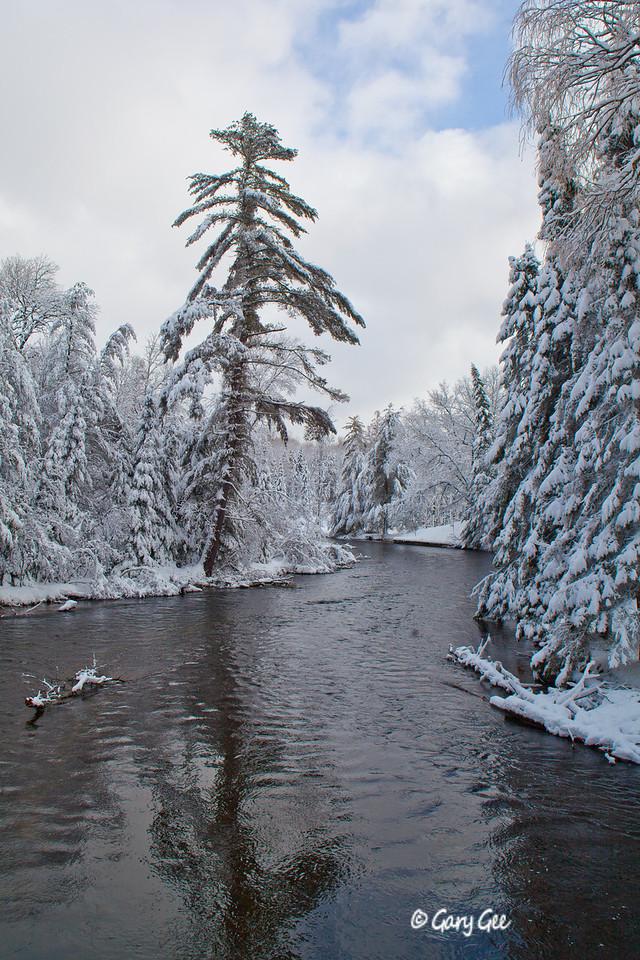 Au Sable River Wakeley Bridge Winter