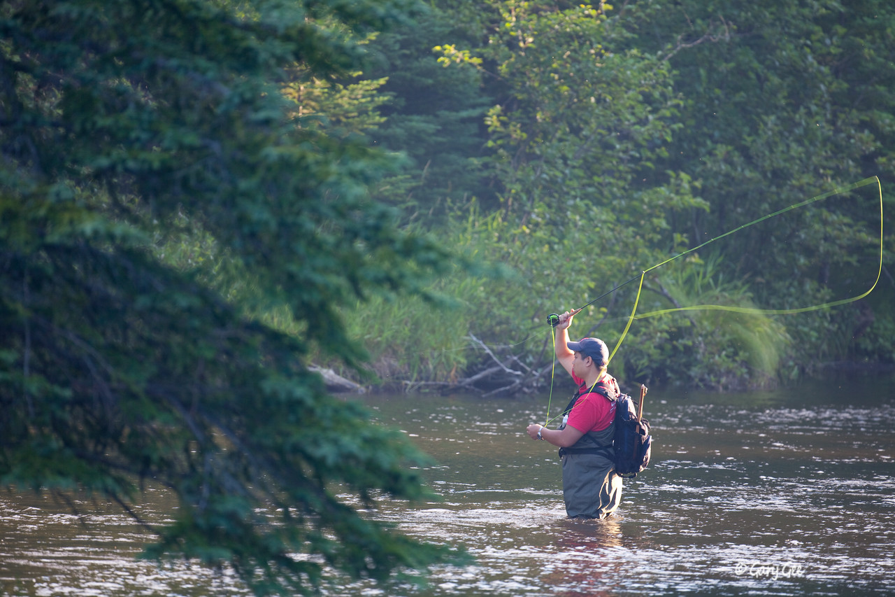 Fisherman on the North Branch of the AuSable River near the Kellogg Bridge.