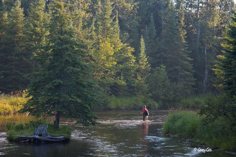 Fisherman on the North Branch of the AuSable River near the Kellogg's Bridge