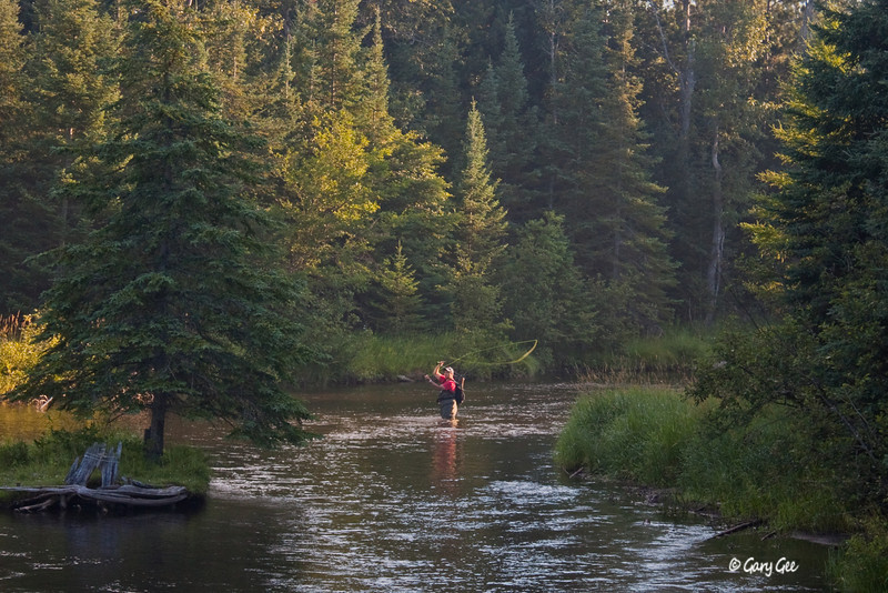 Early Morning Fisherman on the North Branch of the AuSable River near the Kellogg Bridge