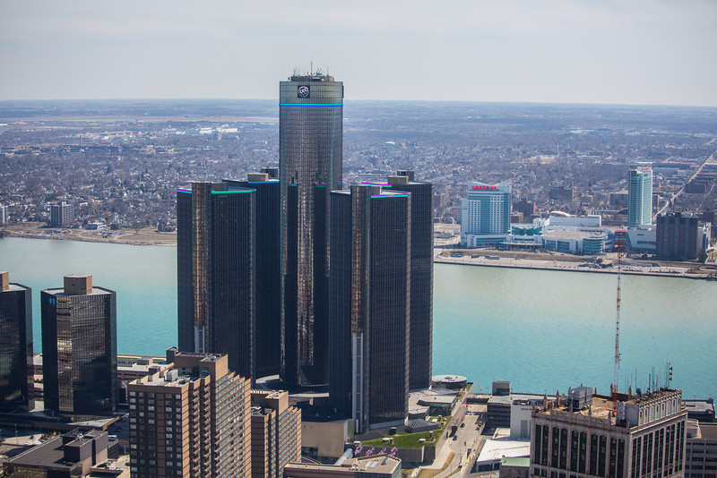 GM Tower Detroit, MI with Caesar's Palace of Windsor, Canada in the background