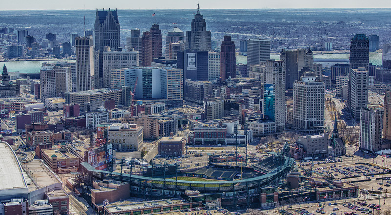 Detroit City with Comerica Park in the foreground *note the windmills far in the distance of the Canadian skyline!