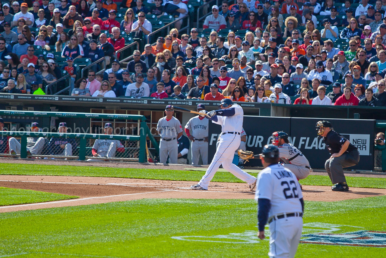Comerica Park - Miguel Cabrera hits first of two homers on the day in 10-0 drubbing of the Boston Redsox in second game of the 2012 season