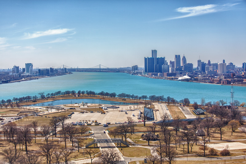 Detroit and Windsor Canada viewed from the air over Belle Isle