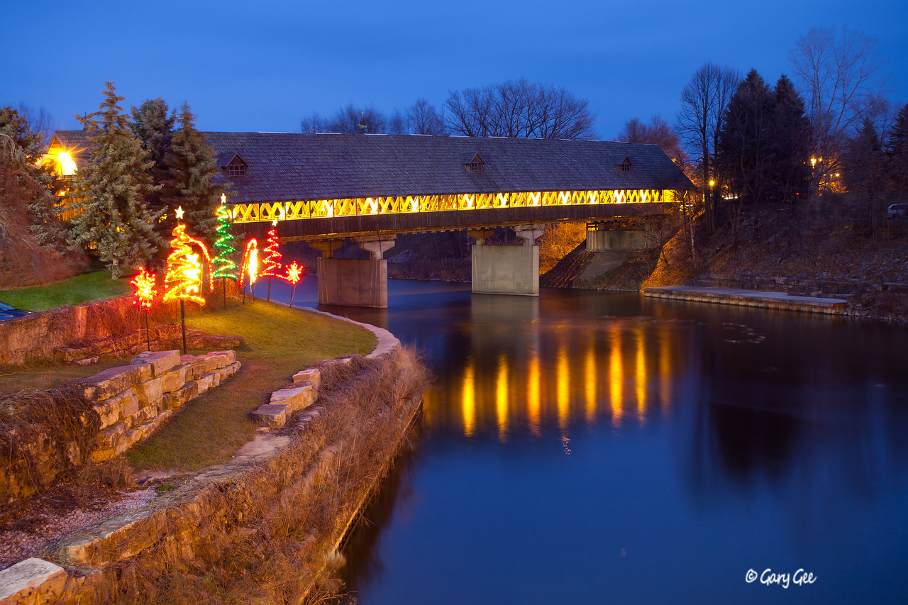 Covered Wooden Bridge as evening falls in Frankenmuth, MI