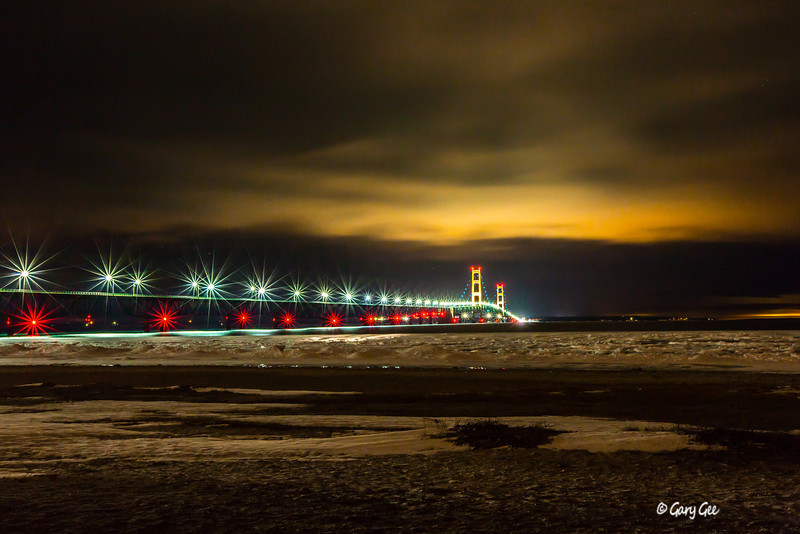 Mackinac Bridge light roping in blue for Autism Awareness month - April 2013