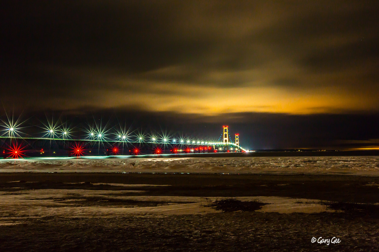 Mackinac Bridge light roping in blue for Autism Awareness month - April 2013
