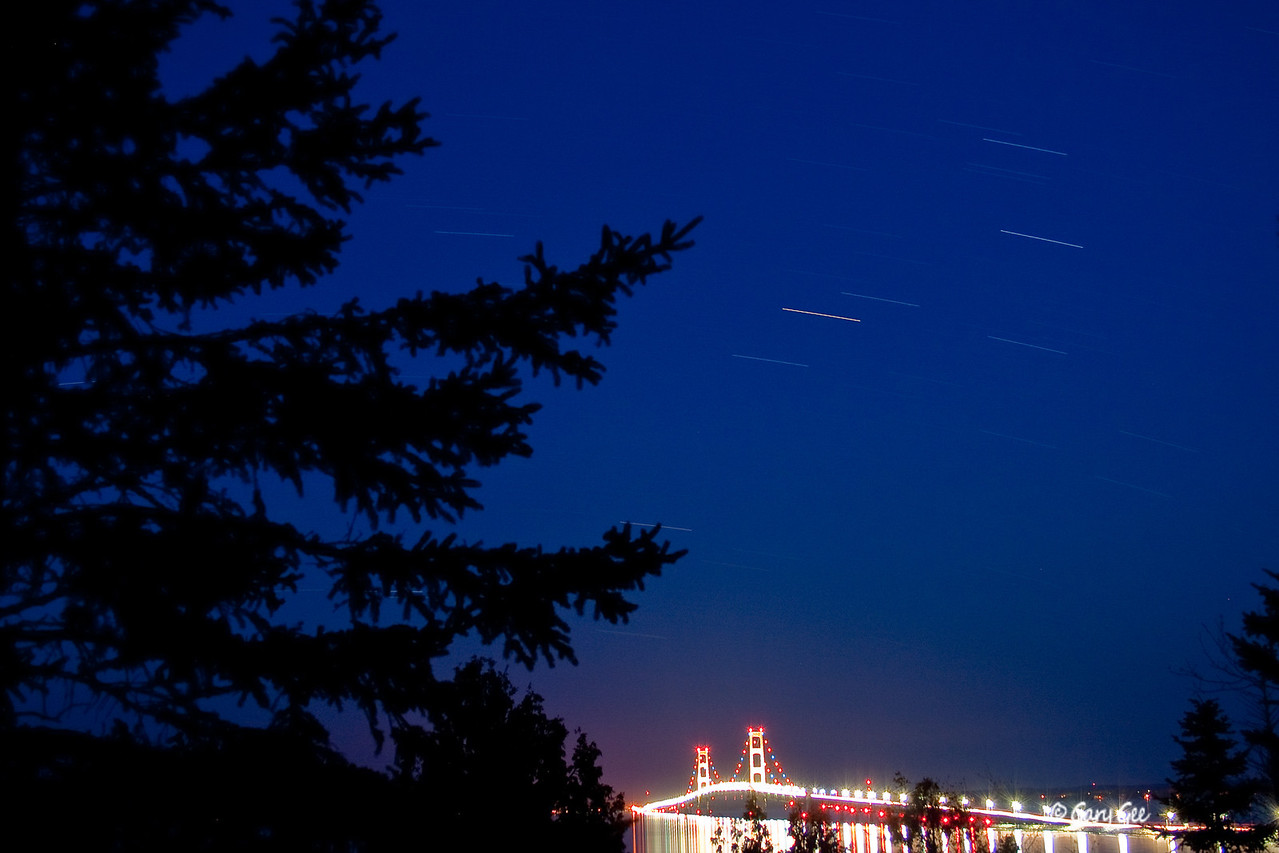 Star trails over the Mackinac Bridge. View from St. Ignace