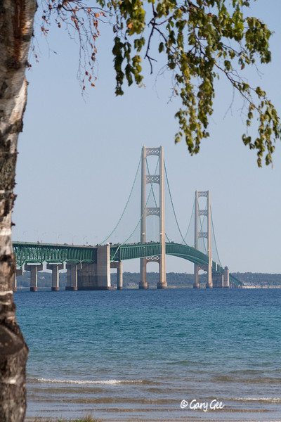 Late summer view of the Mackinac Bridge