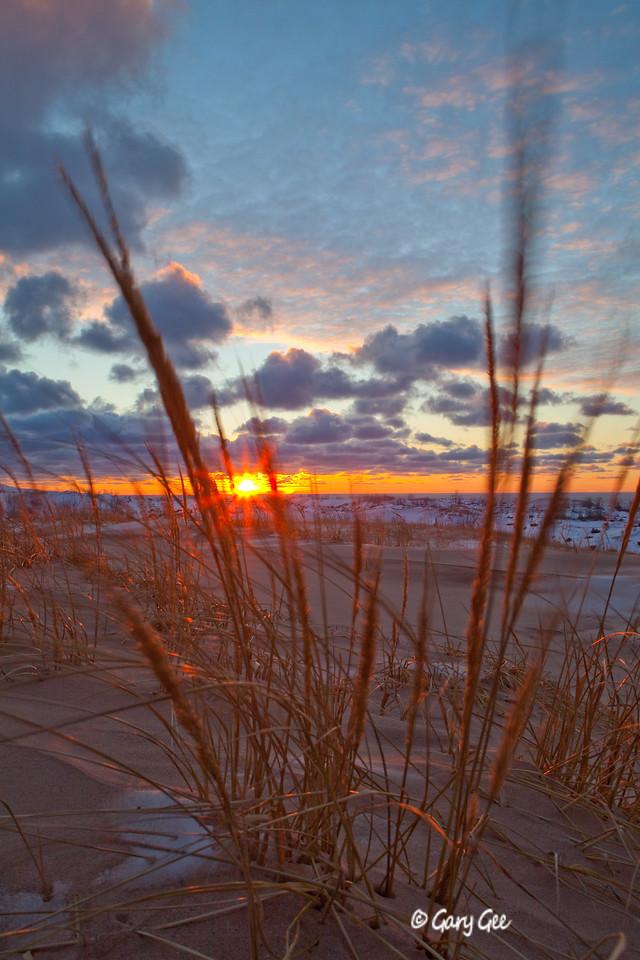 Sleeping Bear Dunes Sunset on a Michigan winter's evening