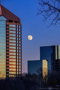 Moonrise over office buildings in Bloomington, MN