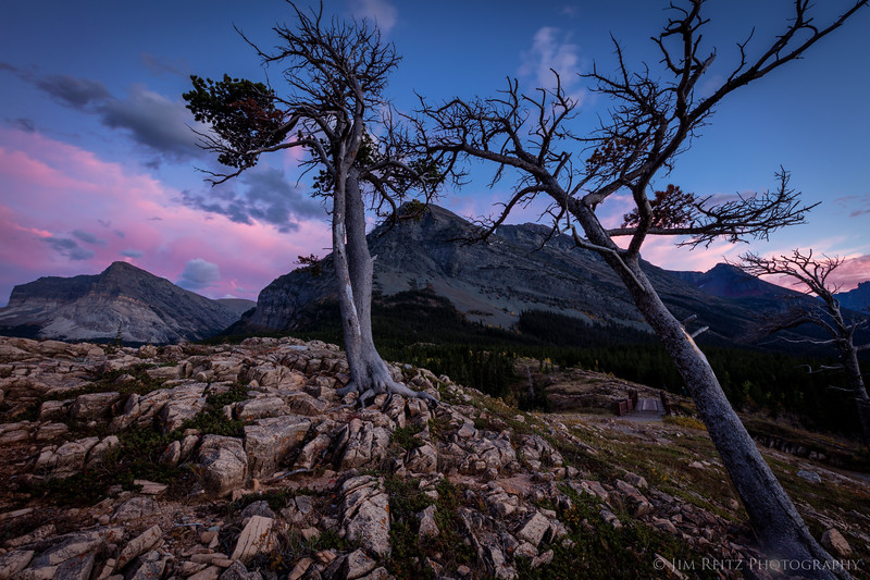 Dramatic pink clouds post-sunset near the Many Glacier Lodge, Glacier National Park