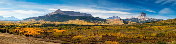 Panoramic view of brilliant autumn color in the Chief Mountain area of Glacier National Park