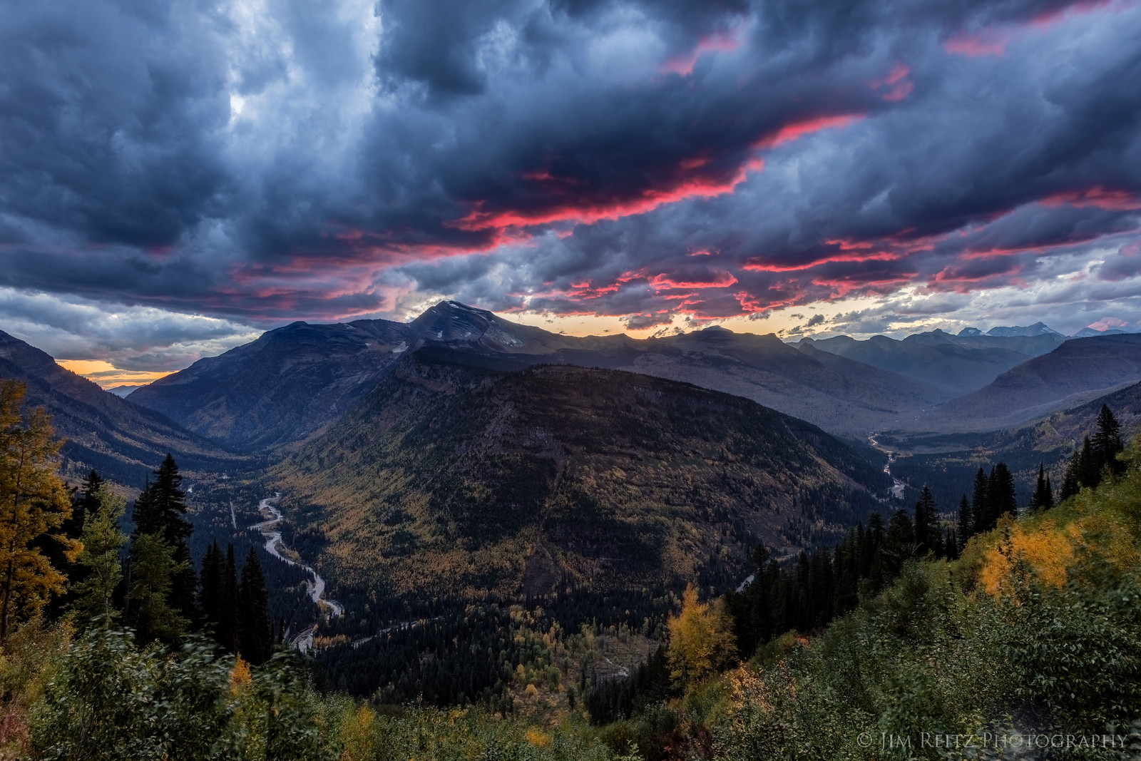 Sunset shot from Going-to-the-Sun Road in Glacier National Park, Montana.