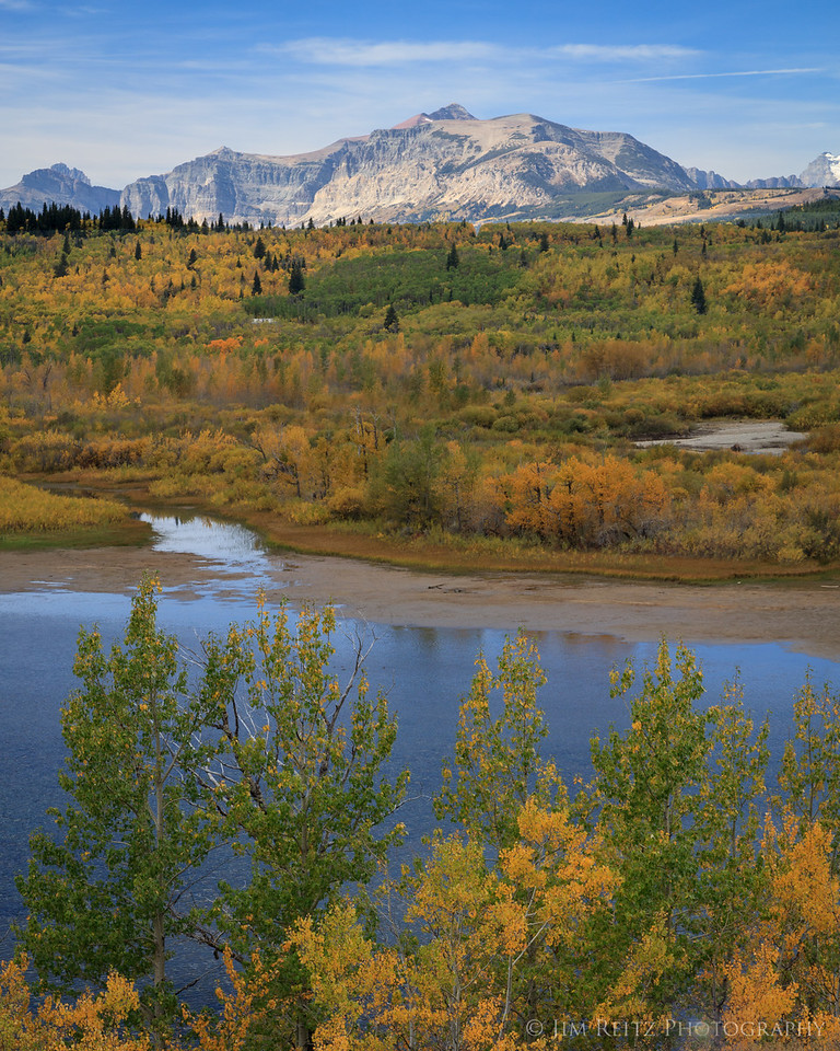 Autumn color, lower St. Mary Lake just outside Glacier National Park on the Blackfeet Indian Reservation.