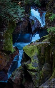 Avalanche Gorge falls in Glacier National Park