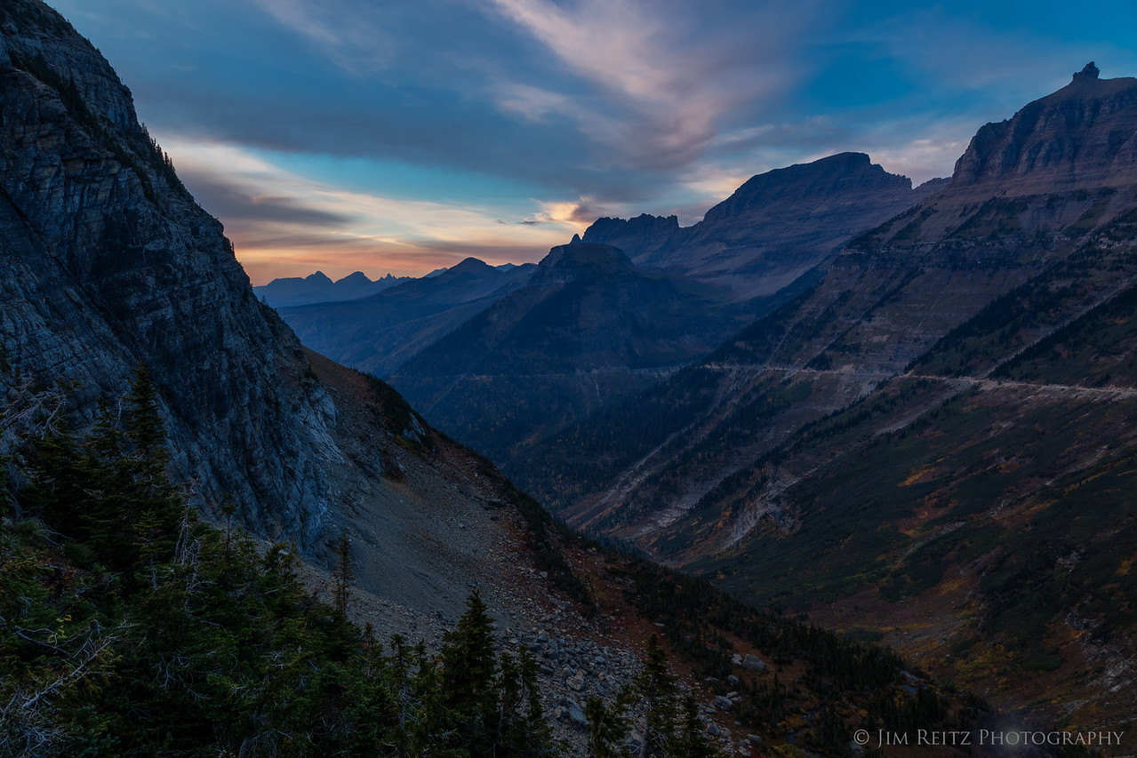 Sunset looking back toward Going-to-the-Sun Road, Glacier National Park
