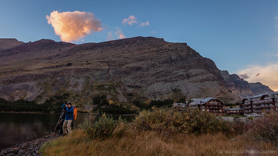 Photographers capturing the sunset over Swiftcurrent Lake, near Many Glacier Lodge - Glacier National Park
