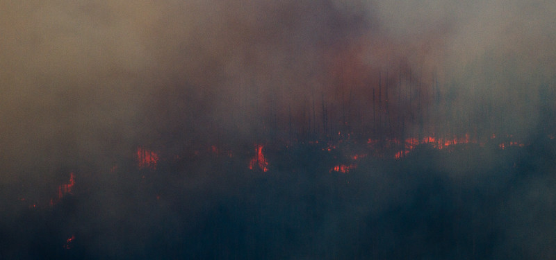 How Ridge Fire views about 2 hours later as we came back down Going to Sun  RD
