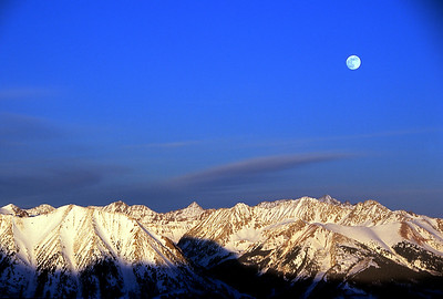 Full Moon rising over the Elk Range - Featured photo in Webster Hall  - Western State College